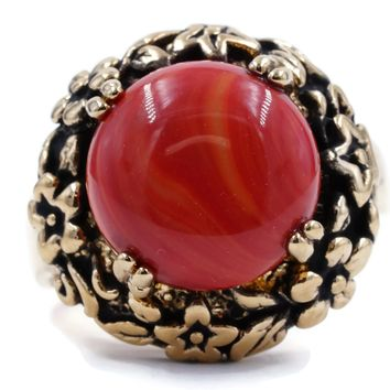 Genuine Coral Fashion Ring in Antiqued Gold Tone Floral Setting