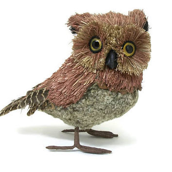 Vintage Owl Sculpture Real Feathers & Fur Bristly Fibers Natural Materials Acorns Wood - Standing Owl Bird Figurine