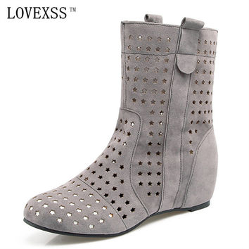 LOVEXSS Summer Boots Black Red Gray Brown Hollow Woman Girl Martens Boots 2017 Plus Size 30 - 48 Ankle Boots Flat with