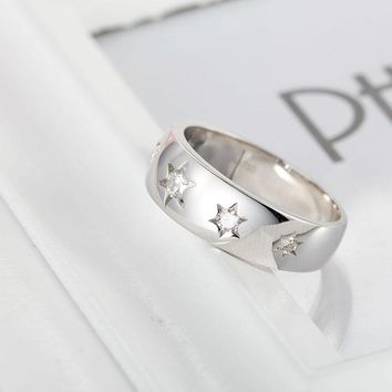 14KT White Gold Stars Wedding Band