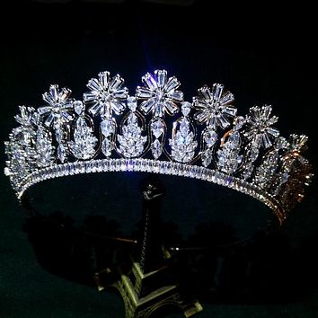 Flower AAA Cubic Zircon Bridal Tiaras Crowns Diadem Zirconia Wedding Brides Bridesmaid Women Jewelry