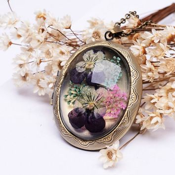 SEDmart Real Dried Pansy Flower Locket Pendant Necklaces Vintage Antique Bronze Plated Long Chain Glass Necklaces For Women Gift