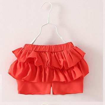 SL-62, summer casual children girls shorts, ruffles edge, solid color.