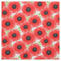 Big Red Poppy Heads Summer Floral Print Fabric