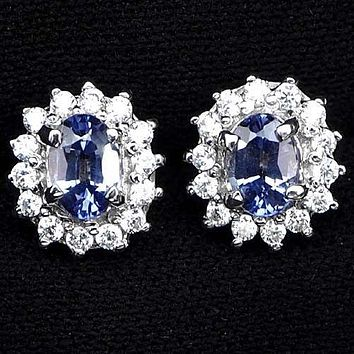 Natural 1.4CT Oval Cut Blue Purple Tanzanite Halo Stud Earrings