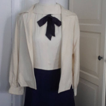 "Late 60s Pat Sandler Dress, Silk Linen, Navy and Cream, Tea Length, Suit, Outfit, 2 Pieces, Dress + Jacket, Size Small, 34"" Bust"
