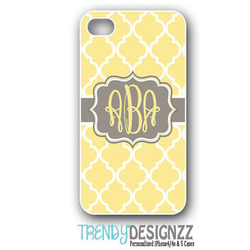 iPhone case, Personalized iPhone case, iPhone 4 case, iPhone 5 case, Samsung S3 S4, Yellow Moroccan Trellis Gray Monogram, Phone Cover(1221)