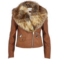 River Island Womens Tan faux fur collar biker jacket