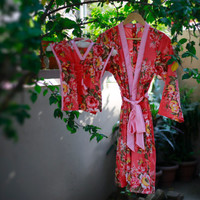 Maternity set of mommy and newborn robe and Kaftan in choice of floral colors for hospital stay, labor and delivery, first baby pictures