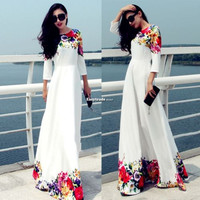 HOT VINTAGE WOMEN BOHO MAXI LONG SLEEVE EVENING PARTY DRESSES FLORAL BEACH DRESS