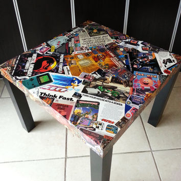 "Vintage ""Gamer Ads"" Comic Collage Table FREE SHIPPING USA"
