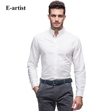 Men's Slim Fit Business Casual Linen Cotton Dress Shirts Long Sleeve Stand Collar Button Down Tops