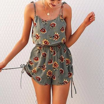 Sunflower Two-Piece Drawstring Romper