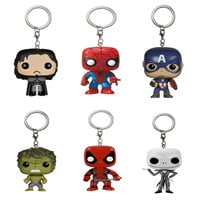 Marvel Funko Pop game of thrones keychain 2016 New pop Deadpool Captain America funko pop the walking dead Car key chain ring