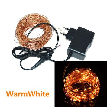 High Quanlity 20M 200 Leds Copper Wire LED String Light Starry Lights Garland Las luces navidenas + Power Adapter