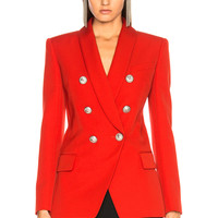 BALMAIN Oversized Double Breasted Blazer in Red | FWRD