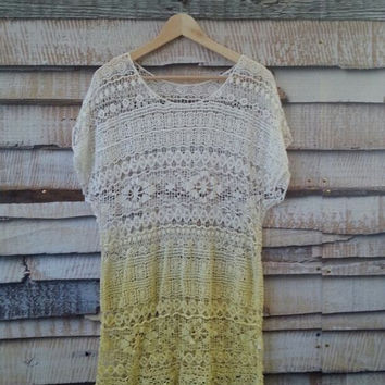 Lace Tunic, Ombre Long Cover Up, Lace Shirt, Crochet Bohemian Boho Hippie Chic Festival Tops, Women's Size L FREE US Shipping
