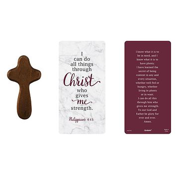 I Can Do All Things Through Christ Hand-Held Prayer Cross with Card
