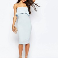 ASOS PETITE Texture Bandeau Ruffle Midi Dress at asos.com