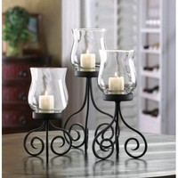 Set Of 3 Black Hurricane Candle Lantern Centerpieces