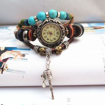 The New Retro BRACELET LADIES WATCH hand woven leather hand strap aliexpress sales in Europe and America