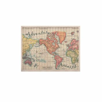 """Catherine Holcombe """"Adventure Awaits World Map"""" Beige Pink Mixed Media Vintage Travel KESS Naturals Canvas (Frame not Included)"""
