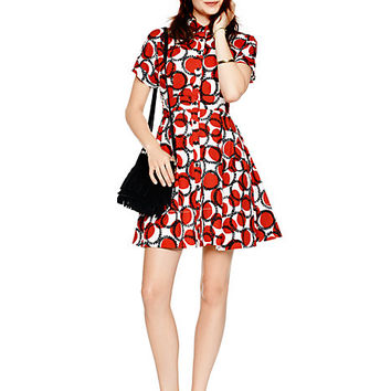 Kate Spade Stamped Dots Shirtdress Spicy Red