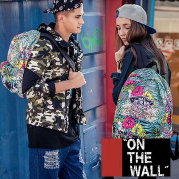 """Vans""Fashion Personality printing large capacity backpack bag leisure travel boom Periwinkle(8 style)"