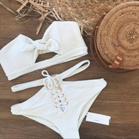 Sexy pure white chest hole high waist bandage bottom side open two piece bikini swimsuit