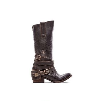 Leather Chunky Low Heel Buckle Mid Calf Boots