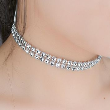 Two Row Chokers Engagement Necklaces For Women