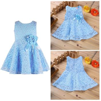 Summer Lace Baby Girls Dress Elegant Princess Newborn Baby Dresses with Flower Sleeveless Sweet 1 Year Birthday Party Dress