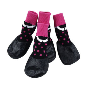 Waterproof Rubber Bottom Pink & Black Dog Pet Socks