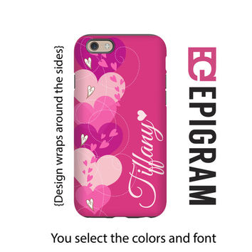 Valentine iPhone case, pink hearts personalized iPhone case, gift for her, iPhone case for her, iPhone 4/4s/5/5s/5c/6/6s and 6/6s Plus case