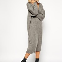 ASOS WHITE Oversized Grey Knit Midi Dress at asos.com