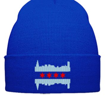 Chicago Flag  - Beanie Cuffed Knit Cap
