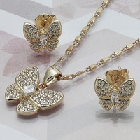 Gold Layered Women Butterfly Earring and Pendant Adult Set, with White Cubic Zirconia, by Folks Jewelry