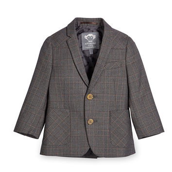 Glen Plaid Two-Button Professor Blazer, Gray, Size 4-14,
