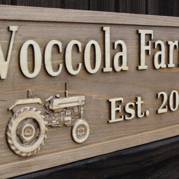 Personalized Family name signs CARVED Custom Tractor Sign by michaelswoodworks