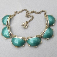 FAB 50's Faceted Half Moon Teal Green BIG Lucite Thermoset Necklace