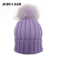 JS FUR Design Warm Winter Wool Blend Knitted Women Hats and Caps with Matching Color Real Raccoon Fur Pom Pom Beanie Hat for Men