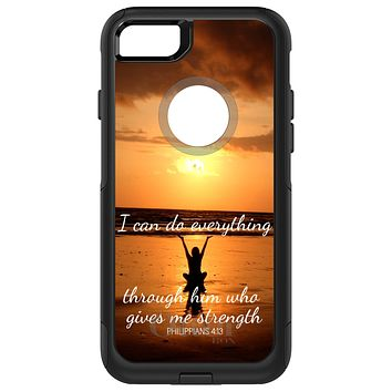 DistinctInk™ OtterBox Commuter Series Case for Apple iPhone or Samsung Galaxy - Philippians 4:13 - I can do everything through Him who gives me strength