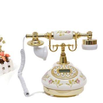 Vintage Antique Retro Caller ID Handset Desk Ceramic Telephone Handfree White