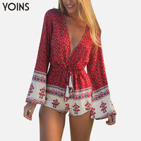 YOINS  New Boho Printed Women Jumpsuit Sexy V-Neck Romper Long Sleeve Bodysuit Tie Waist Rompers XXXL Overalls Beach Wear