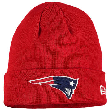 Men's New England Patriots New Era Red Solid Cuffed Knit Hat