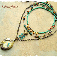 Bohemian Necklace, Bird Lover, Hand Knotted, Multiple Strands, Nature Inspired Jewelry, bohostyleme, Kaye Kraus
