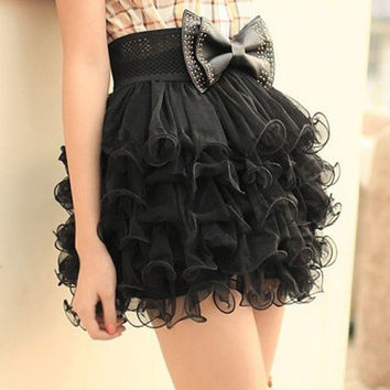 Girls Full Tutu 5 Layer Mini Cake Skirt Black  (Size: 41cm, Color: Black) = 1945805956