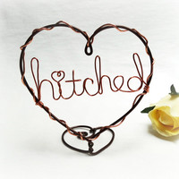 Hitched Wire Heart Cake Topper - Brown and Copper Colored Wire Wedding