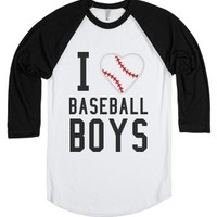 I love baseball boys-Unisex White/Black T-Shirt