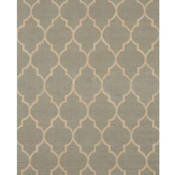 EORC Hand-tufted Wool Light Green Traditional Trellis Moroccan Rug